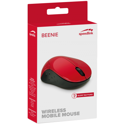 Speedlink BEENIE Mobile Mouse - Wireless USB, 3 noiseless main buttons, Sensor resolution: 1,200dpi ,range of up to 8m, suitable for left- and righthanded user, red